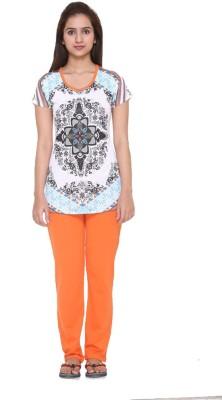 Meei Women's Graphic Print Orange Top & Pyjama Set