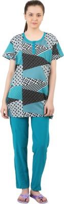 Informal Wear Women's Printed Green, Black Top & Pyjama Set