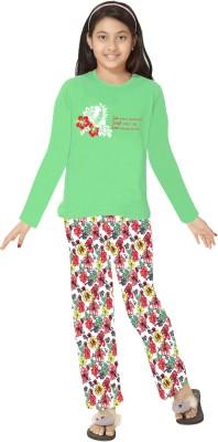 So Sweety Girl's Printed Green Top & Pyjama Set