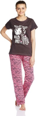 July Comfy Cotton Designer Two Piece Women's Printed Brown, Pink Top & Pyjama Set