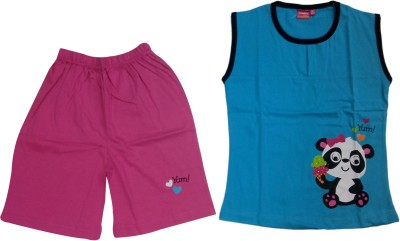 Tomato Girl's Printed Blue, Pink Top & Shorts Set