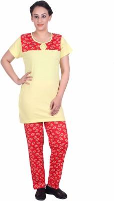 Di Tutti Women's Printed Red Top & Pyjama Set