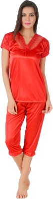 Masha Women's Solid Red Top & Pyjama Set