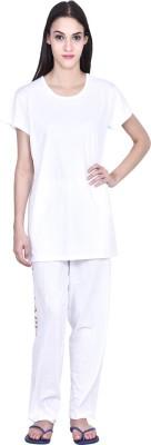 PRO Lapes Women's Solid White Top & Pyjama Set