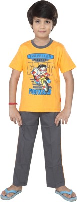 Purple Baby Boy's Graphic Print Orange Top & Pyjama Set