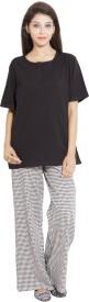 9teenAGAIN Women's Printed Black Top & Pyjama Set