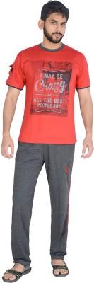 Speed Ball Men's Solid Red, Grey Top & Pyjama Set