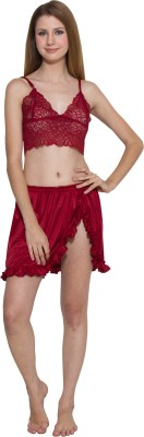 Kismat Fashion Women's Self Design Maroon Top & Skirt Set