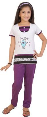 Red Ring Girl's Graphic Print White, Purple Top & Pyjama Set