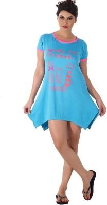 Shyle Women's Graphic Print Blue Sleepshirt