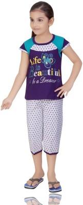Mint Girl,s Floral Print Purple Top & Capri Set
