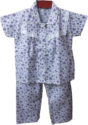 Fusion Fashion Baby Girl's Floral Print White, Purple Top & Pyjama Set