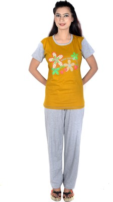 Rosabela Women's Printed Yellow Top & Pyjama Set