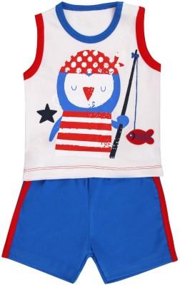 Munna Munni Kids Apparel Baby Boy's Printed, Solid Yellow, White, Brown Top & Shorts Set