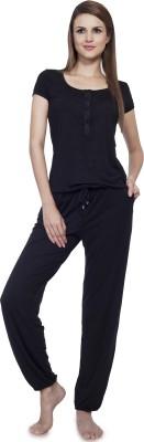 SOIE Women's Solid Black Top & Pyjama Set