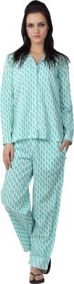 Liwa Nightwear Women's Printed White Top & Pyjama Set