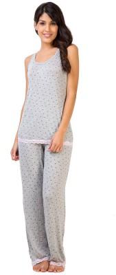 Penny by Zivame Women,s Printed Grey Top & Pyjama Set