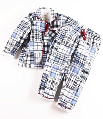 Cherry Crumble California Baby Boy's Checkered Multicolor Top & Pyjama Set