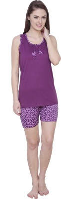 Claura Women's Floral Print Purple Top & Shorts Set