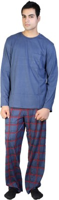 F FASHIONSTYLUS Men's Solid Grey Top & Pyjama Set