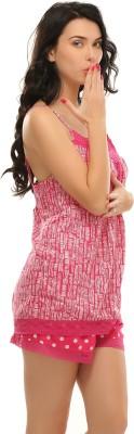 Clovia Women's Printed Pink Top & Shorts Set