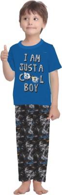 La Dreamz Boy's Printed Blue Top & Pyjama Set