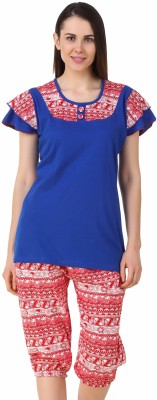 Fasense Women's Solid, Printed Blue, Red Top & Capri Set