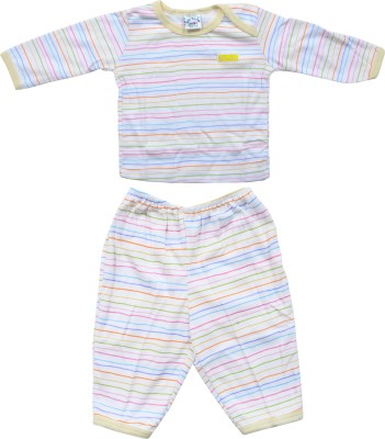 FabSeasons Baby Boy's Striped White, Yellow Top & Pyjama Set