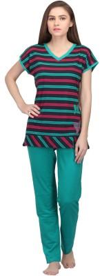Valentine Women's Printed Green, Red Top & Pyjama Set