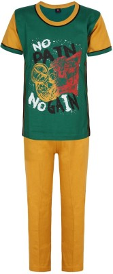Jazzup Boy's Printed Green Top & Pyjama Set