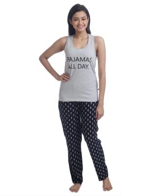 Nite Flite Women's Printed Grey, Black Top & Pyjama Set at flipkart