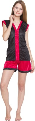 Kismat Fashion Women's Self Design Red, Black Top & Shorts Set