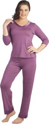 SOIE Women's Solid Purple Top & Pyjama Set