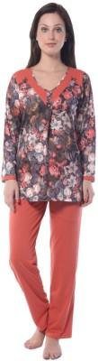 Squirrel Women's Printed Orange Top & Pyjama Set