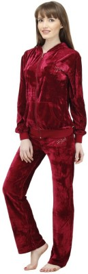 Camey Women's Self Design Maroon Top & Pyjama Set
