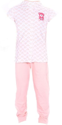 Bio Kid Comfy Sleep Girls Printed Multicolor Top & Pyjama Set