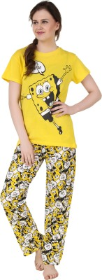 Big Pout Women's Printed Yellow Top & Pyjama Set