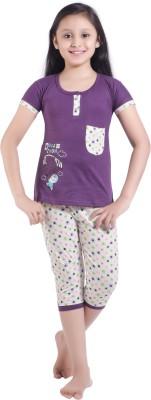 Red Ring Girl's Printed Purple Top & Capri Set