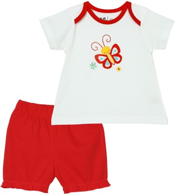 Baby Pure Baby Girl's Solid Red Top & Shorts Set