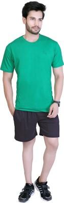 LUCfashion Men's Self Design Black, Green Top & Shorts Set