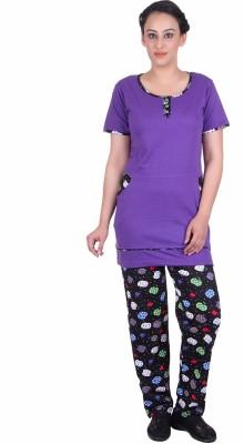 Di Tutti Women's Printed Purple Top & Pyjama Set