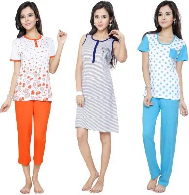 Flamingo Lingerie Women's Printed Blue, Orange, Light Blue Top, Pyjama & Capri Set