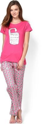 July Comfy Cotton Designer Two Piece Women's Printed Pink Top & Pyjama Set