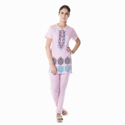 Bhagwan Knitwears Women's Embroidered Pink Top & Pyjama Set
