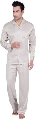 Tatwam Men's Solid Beige Top & Pyjama Set