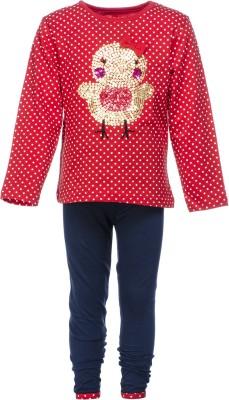 Pepito Girl's Embellished Red Top & Pyjama Set