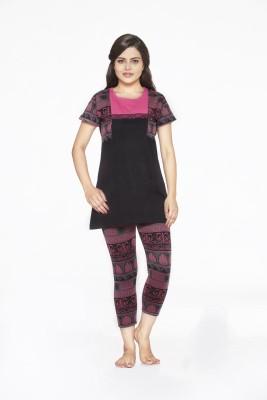 Melodie Women's Printed Black, Pink Top & Pyjama Set