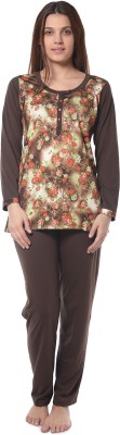 Squirrel Women's Printed Brown Top & Pyjama Set