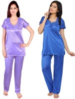 Krazy Katz Women's Solid Blue, Purple Top & Pyjama Set