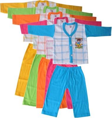Mahadhi Baby Boy's Printed Multicolor Top & Pyjama Set